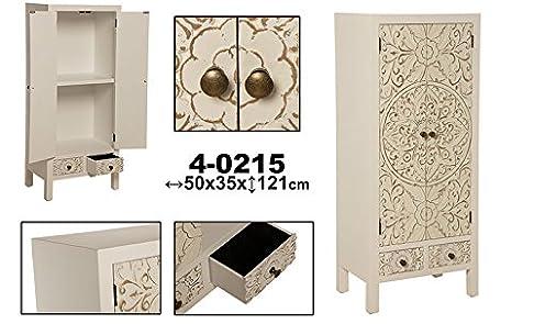 Armadio 2ante e 2cassetti legno con bianca _ 50x 35x 121cm