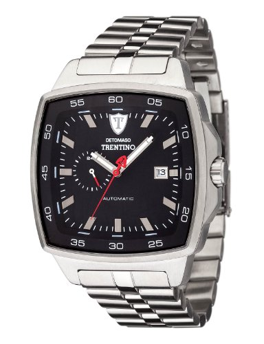 Detomaso Trentino Silver/Black Men's Automatic Watch with Black Dial Analogue Display and Silver Stainless Steel Bracelet DT1059-C