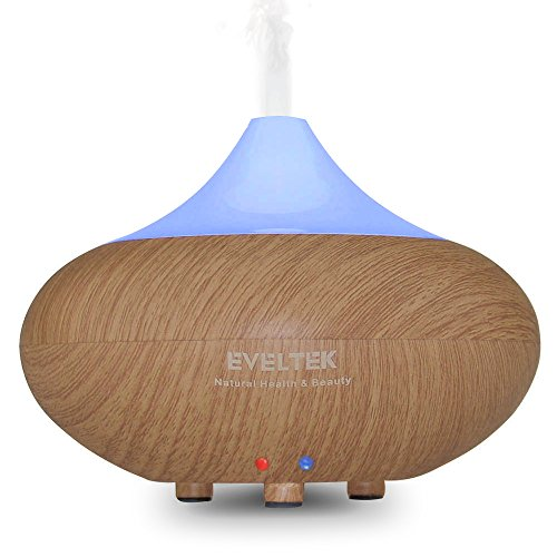 Essential Oil Diffuser,EVELTEK Wood Grain Cool Mist Portable Aromatherapy Air Humidifier,7 Colors Changing LED &Waterless Auto Shut-off for Home Office Bedroom Room & Children,Nature Health & Beauty