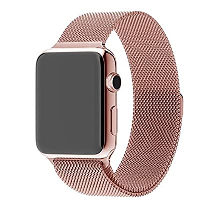 FineCase?-Apple-Watch-Band,-with-Unique-Magnet-Lock,-42mm-Milanese-Loop-Stainless-Steel-Bracelet-Strap-Band-for-Apple-Watch-42mm-(Rose-Gold)