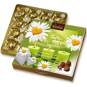 Pralinen Geschenk mit 16 Nougat Pralinen - Ein herzliches Dankeschön - mit Pralinen Schokolade