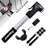 MadBite® Mini Bike Air Pump 120PSI Telescopic, Compact & Portable Bicycle Frame Pump - Easy-Read Gauge - BONUS 2 Tire Bars, 6-Piece Glueless Puncture Repair Kit, 1 Inflation Needle - Fits Presta and Schrader Air Valves, Lifetime Warranty