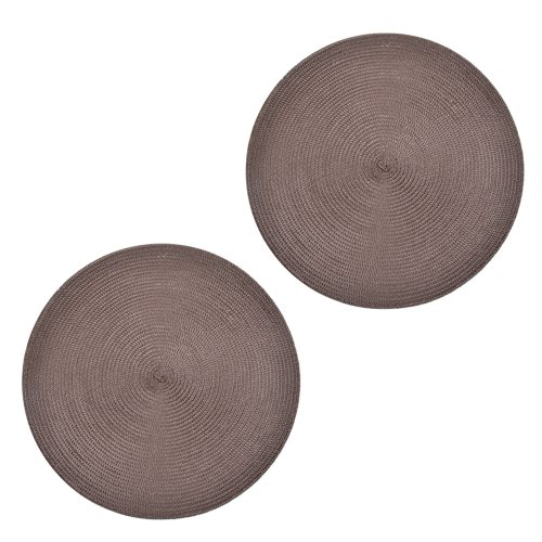 Kloud City ® Round Woven Heat Insulation Dining Room Placemats Table Mats (Brown, Set Of Two)