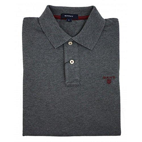 Gant Uomo Contrast Collar Pique Rugger Polo Shirt, Grigio, Small