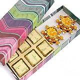 Ghasitaram Gifts Chocolates - Pink Printed Chocolate Hamper With Orange T-lites