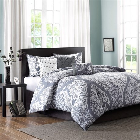 Madison Park Vienna 6 Piece Duvet Cover Set - Grey - Full/Queen