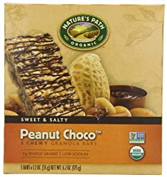 Nature\'s Path Organic Granola Bars, Peanut Choco\', 5-Count Boxes, 1.2oz,  (Pack of 6)