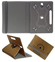 DMP Designer 360 Degree Rotating Leather Flip Case Book Cover With Stand For Lenovo CG Slate Grade 3-5 - Brown