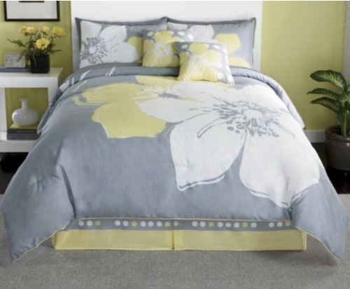15 Pieces Marisol Yellow Grey White Comforter Bed-In-A-Bag Set Full Size Bedding+Sheets+Pillows+Curtains