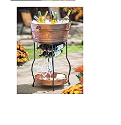 Galvanized Copper Party Bucket with Stand and Tray 9.25 Gallon Capacity