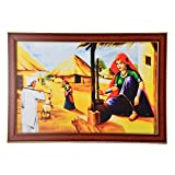 GATTS Graceful Men Women Village Scene Bright Canvas Wooden Frame Wall Painting(13.5x19.5x0.5 Inch)