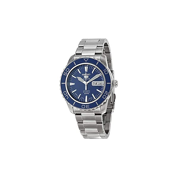 3609c895bac Seiko 5 Sports SNZH53J1 Japan Men s Stainless Steel Blue Dial Automatic  Watch (Color  Blue)