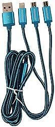 Phonokart PKLC85-BLU 8-Pin 3-in-1 USB Cable - 100 cm (Blue)