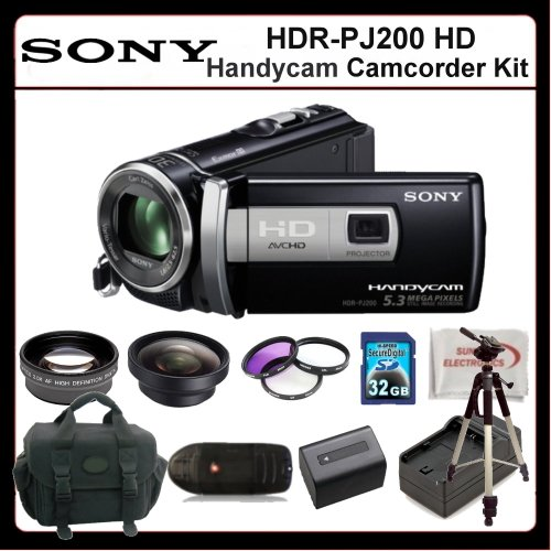 Sony HDRPJ200 Camcorder Kit Includes:Sony HDR-PJ200 High Definition Handycam Camcorder (Black), 2X Telephoto Lens, 0.45X Wide Angle Lens, 3 Piece Filter Kit, Extended Life Battery + Charger, 32GB Memory Card, 72