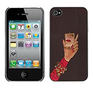 Omega Covers - Snap on Hard Back Case Cover Shell FOR Apple iPhone 4 / 4S - Michael Mirror Woman Red Nails Hand