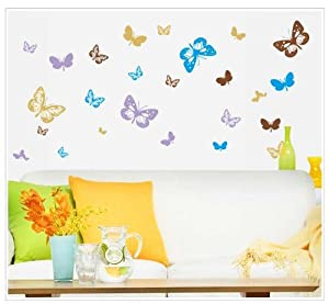Salala Colorful Butterflies Wall Sticker Living Room or Bedroom Decor from Salala