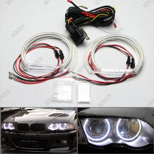 Newsun Free Shipping 3014 Smd Led Angel Eyes Halo Rings Kit Headlight For Bmw E46 A+B Non-Projector White Color Super Bright 126 Leds