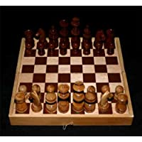 Carved Art Wooden Chess Set Folding Board and Box Game CS_12X12_001