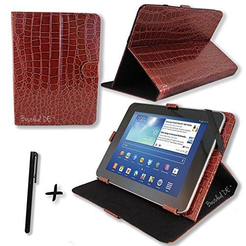 """Luxus Braun Krokodil PU Lederner Tasche Case Hülle für Point of View ProTab 3XXL & ProTab 25XXL 10.1"""" Zoll Tablet PC + Stylus"""