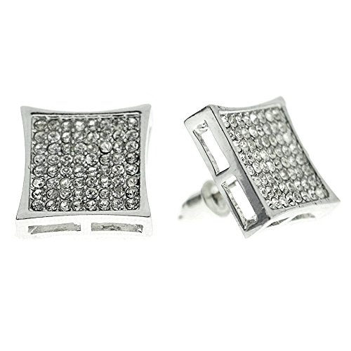 Huge 15mm Mens Kite Shape Micro Pave Iced-out Silver Tone Square 8 Row Lines Large Earrings (Big Diamond Earrings compare prices)