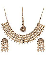Shahenaz Jewellers 24 Ct Gold Plated Bridal Jewellery Set With CZ And Marquis Stones For Women - B00R2INXUC