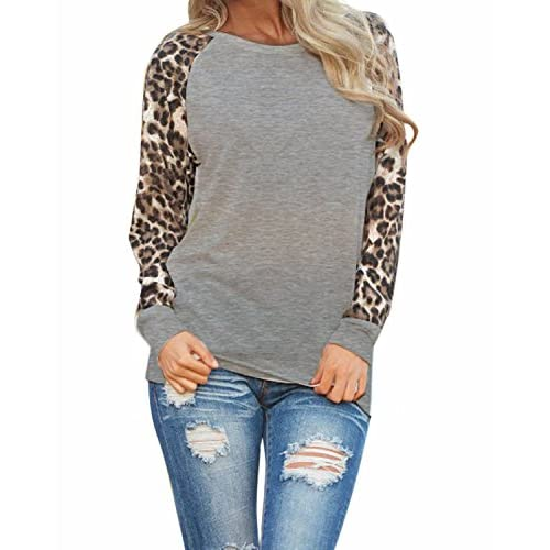 ZANZEA Women's Sexy Casual Long Sleeve Leopard Round Neck T-Shirt Blouse Tops