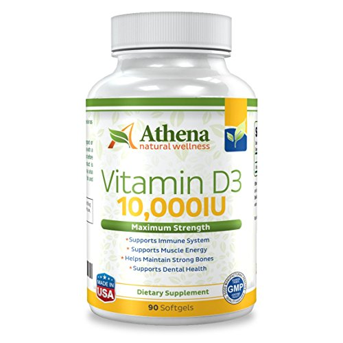 Athena - Vitamin D3 10,000IU High Strength - 90 Softgels Capsules - Supports Immune System, Muscle Energy, Strong Bones and Healthy Dental (Vita D Sol compare prices)
