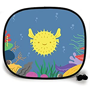 123t ANI-MATES UNDER THE SEA PUFFER FISH DESIGN PLAIN Sunshade x 2