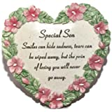 Special Son Flower Edged Heart Graveside Ornament