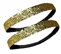 2 PACK: Activewear Apparel Glitter Headbands Multiple Colors Available (2-Gold)