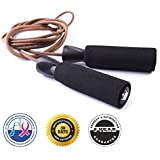 Voted #1 Leather Jump Rope for Fitness Training - $1 From Every Purchase is Donated to Prostate and Breast Cancer Research - Premium Quality - Great Boxing and CrossFit Speed Workout - Best Exercise for Heart Health - The King Athletic Leather Jumping Rope is Made with Genuine Leather - Protect Your Investment - Skip Rope Comes with a 30-Day Money Back Guarantee and 5-Year Product Satisfaction Warranty