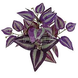 Imported Imitation Zebrina Plastic Artificial Leaves Foliage Plant Home Decor Purple