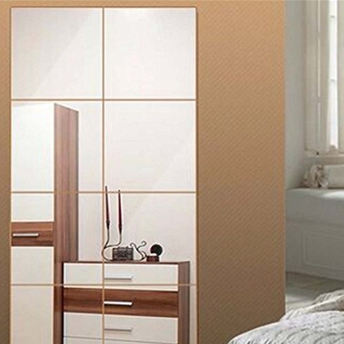 Ginee18 16pcs Square Decorative Mirrors Self-adhesive Tiles Mirror Wall Stickers Mirror Decor