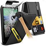 ONX3® (ULTIMATE FULL BODY PROTECTION PACK) Exclusive HTC Desire 510 PU Leather Flip Case Skin Cover + Premium Explosion Reinforced Tempered Glass Screen Protector + Retractable Touchscreen Stylus Pen - Various Colours