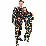 Adult Footed Pajamas Drop Seat Peace Sign Fleece