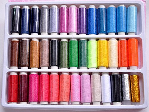Generic 39 Assorted Color 200 Yards Per Unit Polyester Sewing Thread Spool Set (Sewing Machine Thread Kit compare prices)