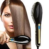 Chi Tronic Women Hair Quick Straightener Electric Ceramic Rebonding Comb Brush Head Massager, F/C Lcd Accurate Temperature Control (U.S. Plug, Black)