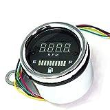 ルルハウス バイク 汎用 回転数表示 LED デジタル 燃料表示 タコメーター 燃料計 DC 12V 外径6.1cm