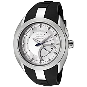 Seiko Men&#39;s SRN011 Arctura Kinetic Silver Dial Black Rubber Watch