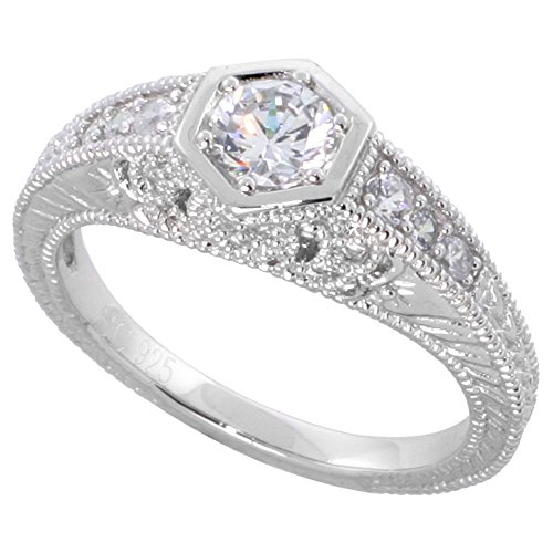 Sterling Silver Vintage Style Cubic Zirconia Engagement Ring Round ¼ ct Center, size 9