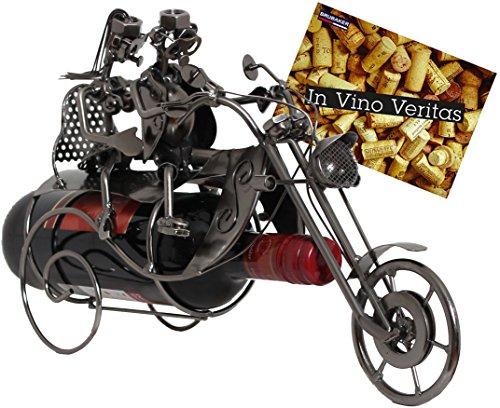 BRUBAKER Porte-bouteille de Vin décoratif - Sculpture en Métal - Idée cadeau - Couple sur la Moto