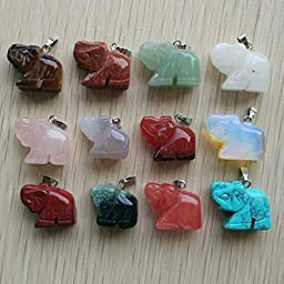 Natural Stone Mixed Carved Elephants Charms Pendant Beads 12Pcs/Lot