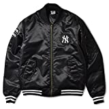 Majestic マジェスティック NEWYORK YANKEES ニューヨーク ヤンキース BASEBALL BOMBER JACKET フライトジャケット ボンバージャケット MA-1 MM23-NYK0074-BLK5 BLACK BLACK L