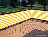 """Deluxe Yellow/white Striped Privacy Screen Net for Deck, Balcony, Fence, Pool or Patio. 35"""" H X 196"""" L Inches (Includes 2 Attachment Options: White Rope & Brass Upholstery Nails)"""
