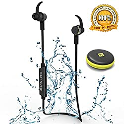 Bluetooth Headphones,SONYXER Waterproof Earphones Wireless Headphone Sport Headset with Mic Wireless Ear buds with Mini Case-Black
