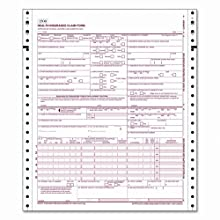 TOPS 50122R Cms-1500 Claim Forms Without Sensor Bar, Continuous 1-Part, 3,000 Per Carton