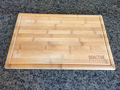 Go Active Lifestyle Extra Large 18x12 Bamboo Cutting Board With Drip Groove - ECO Friendly and Antimicrobial Cutting Board - Thick and Strong - Natural Wood Serving Tray Party Platter