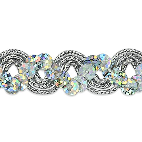 Expo International Reba Ric Rac Sequin Braid Trim Embellishment, 20-Yard, Silver