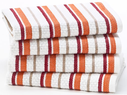 Spice Stripe - 4 Pack Oversized Dish Cloth sets in Spice by Cotton Craft - Size 15x15 - Pure 100% Cotton - Crisp Basketweave striped pattern with a hanging loop - Highly absorbent, soft & sturdy - Other colors - Green, Red, Linen, Black, Blue, Coral, Periwinkle & Blue Yellow - Easy care machine wash