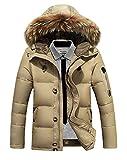 ansin select(アンシンセレクト) 冬 スリム 防寒 中綿 ダウン ジャケット コート ファー フード ジップアップ カジュアル ストリート ブルゾン アウター 防風 保暖 アメカジ メンズ ( 2/ L , カーキ )